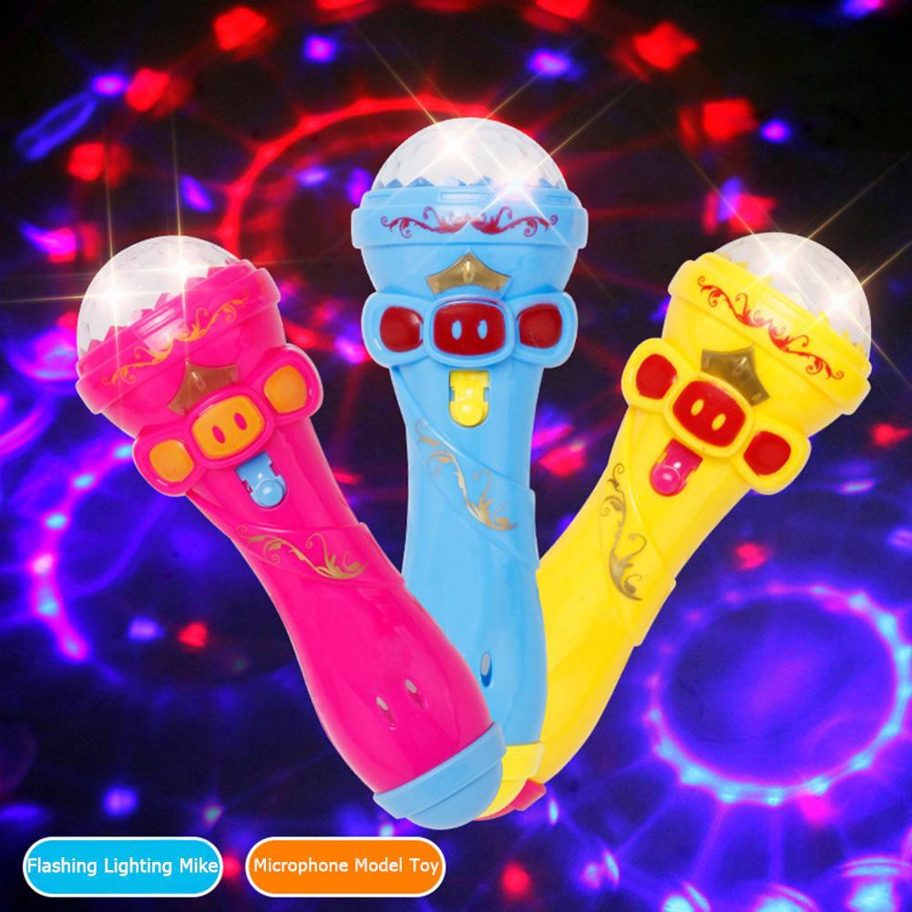 Baby Kids Microphone Model Lighting Toy Wireless Karaoke Flashing Projector Mike