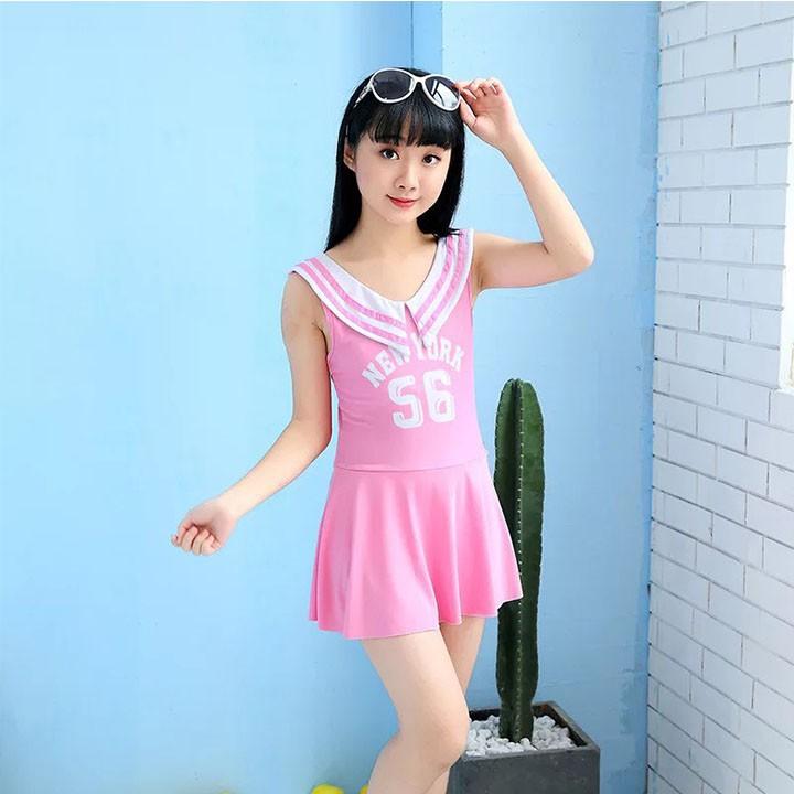 Bộ đồ bơi bikini váy bơi bé gái NEW YORK 56 size lớn cho bé từ 10-14 tuổi