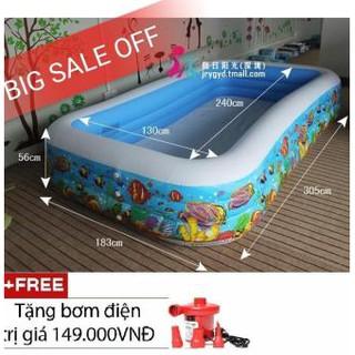BỂ BƠI INTEX GIA ĐÌNH 305x183x56cm (Tặng kèm bơm điện và miếng vá bể bơi)