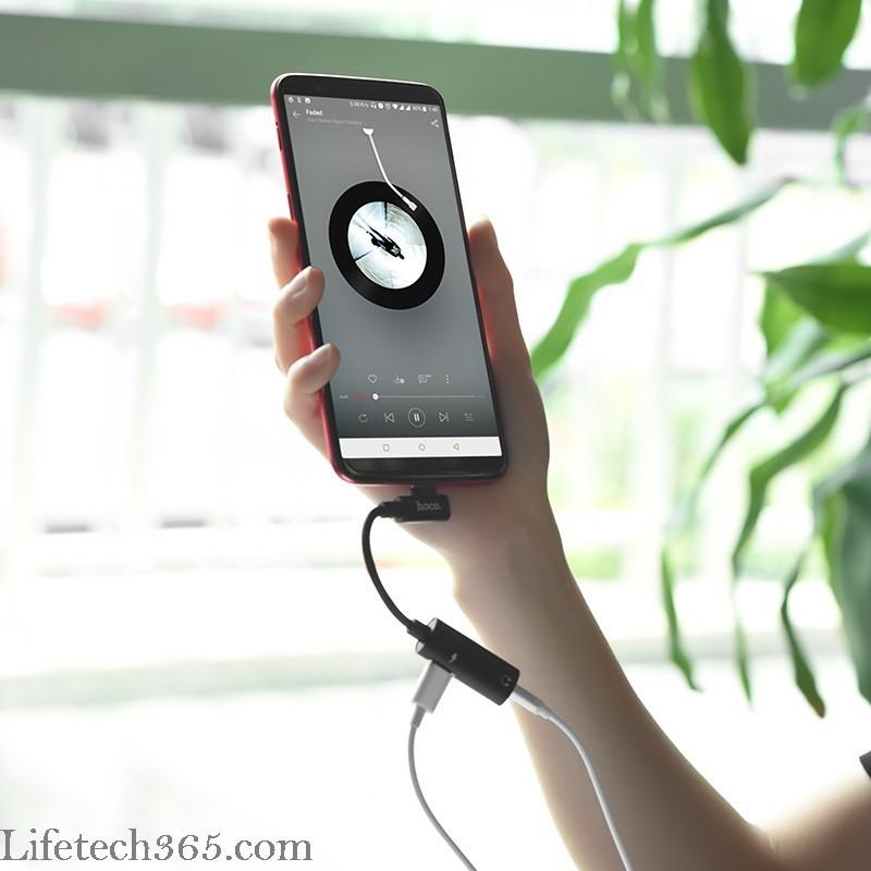 Hoco LS19 – Cáp chuyển đổi Type C sang tai nghe 3.5 và sạc cho Huawei