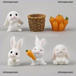 Chitengyesuper 6pcs Lovely Rabbit Model Animal Figurine Dollhouse Miniature Fairy Garden Resin CGS