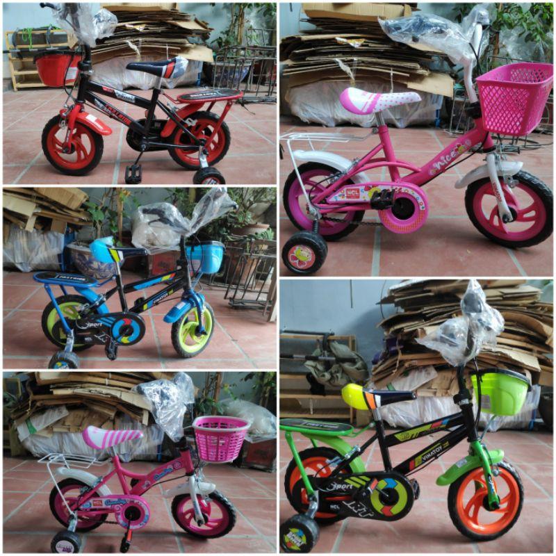 xe đạp 4 bánh trẻ em 12inh, 14inh cho bé 2-5 tuổi lốp đặc nhựa chợ lớn( lắp sẵn)🍒🍒freeship🍒🍒hkm sữa enfa