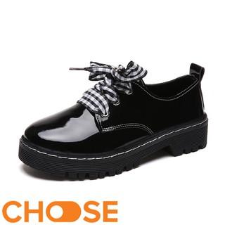 Giày Nữ Mọi Kiểu OXFORD Choose Dây Vải Caro Hoặc Đen Gót Cao 3 Phân G2311