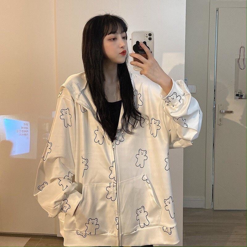 Áo khoác nỉ bông🍉 Áo khoác hình gấu thiết kế dáng hoddie dài tay form rộng unisex có dây kéo ở mũ siêu xinh, jacket nỉi