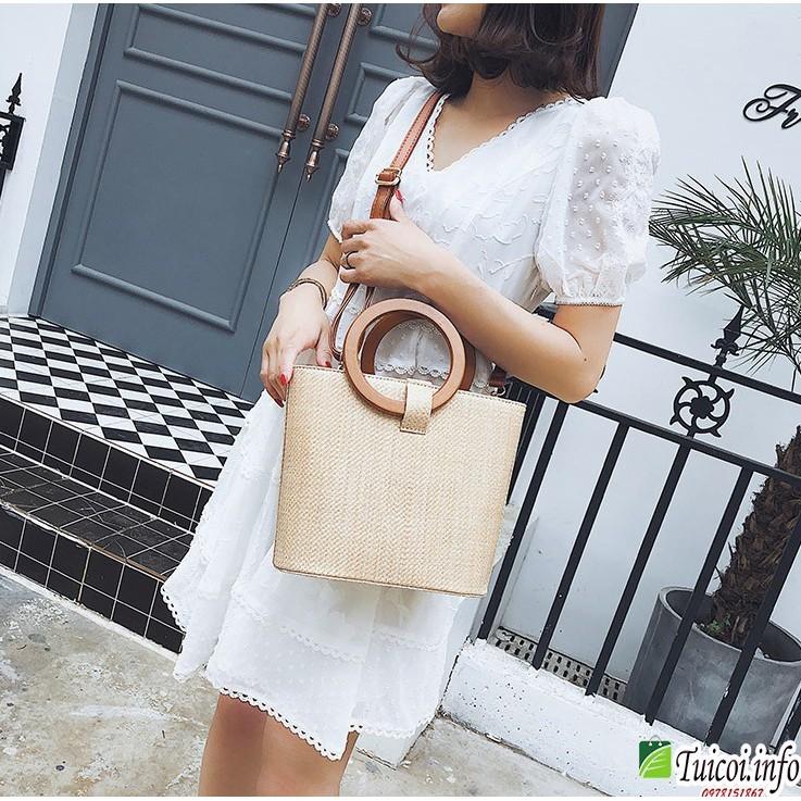 Túi đeo chéo nữ cói hàn quốc quai gỗ tròn nhỏ