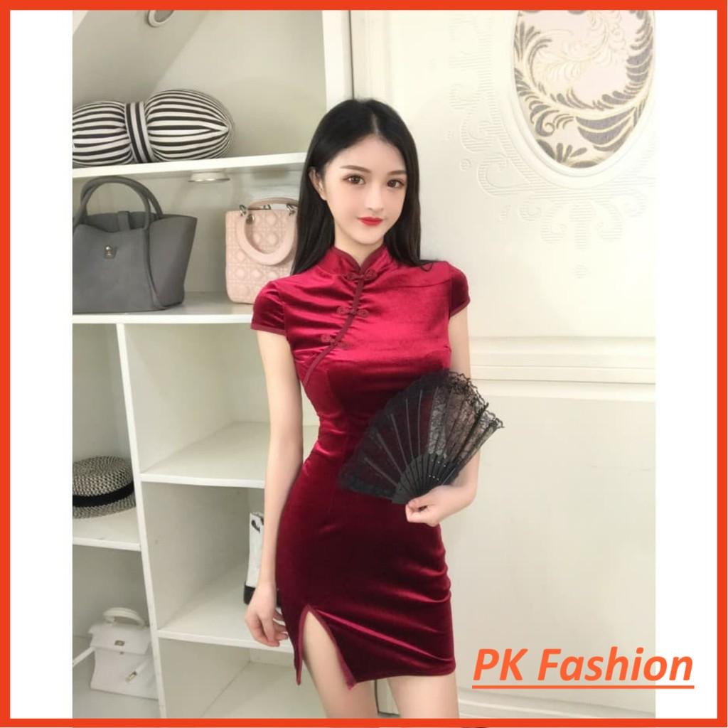 Đầm body Sườn Xám Cổ Tàu (Đỏ)-Mẫu mới 2019