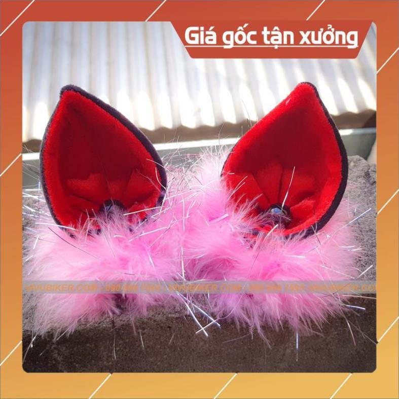 [Giống ảnh] Nón mũ bảo hiểm tai mèo 3/4 trắng lót đỏ siêu cá tính - Nón bảo hiểm Ntmax kèm tai FungFing chính hãng