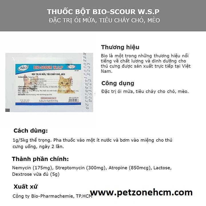 Combo 10 gói Bio W.S.P  FREESHIP Scour 5g chuyên dùng cho chó mèo có thể trạng kém
