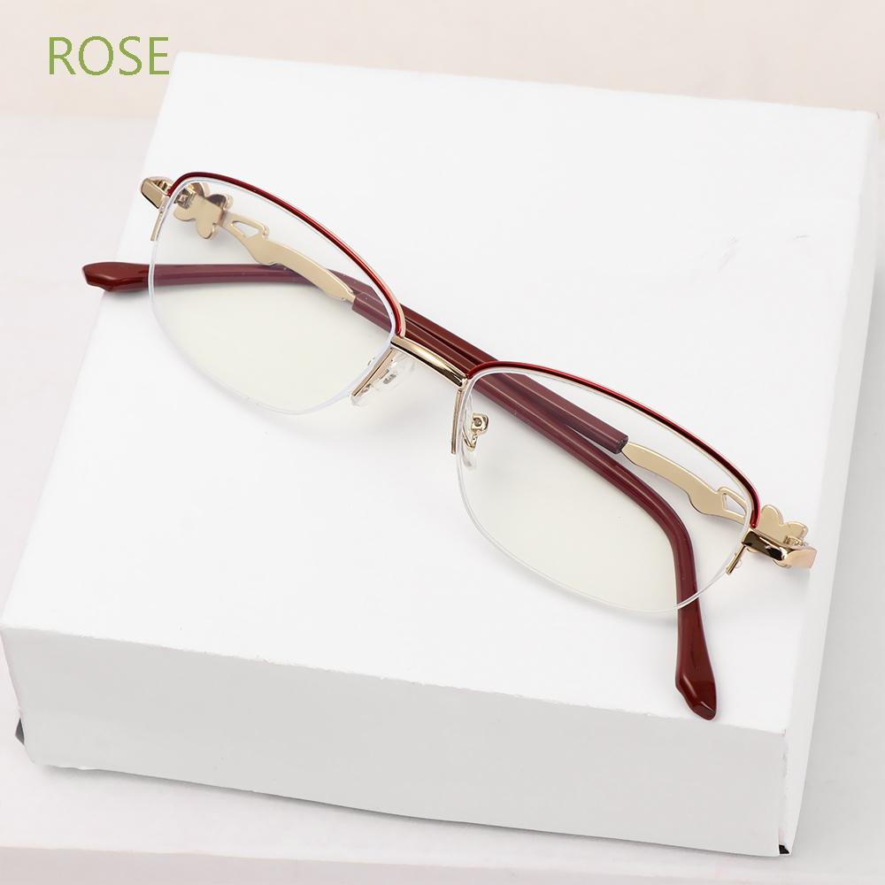 ROSE Anti-fatigue Anti Blue Light Reading Glasses Radiation Protection Computer Goggles Presbyopic Eyeglasses Anti-UV Women Fashion Luxury Transparent Metal Frame Eyewear