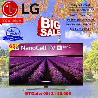Smart Tivi LG 4K 65 inch 65NANO81TNA Mới 2020 – Hàng chính hãng