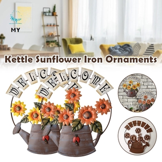 Sunflower Ornaments Wrought Iron Art Pure Hand-Painted Coloring Retro Hanging for Living Room Bedroom Wall Decor
