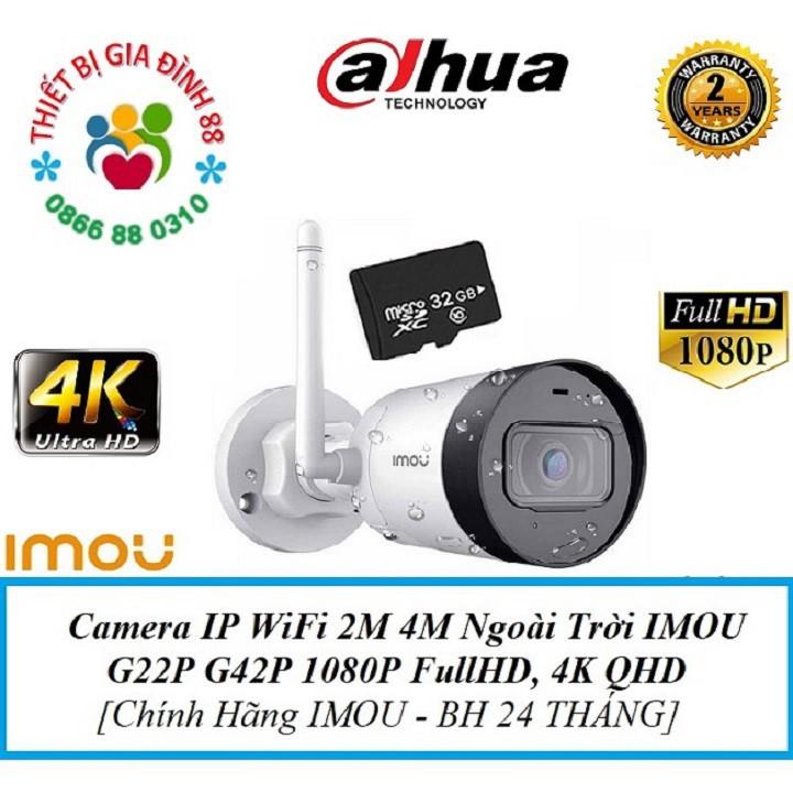 Camera IP WiFi 2M 4M Ngoài Trời IMOU F22P Bullet 2C 2E  F22FP G22P G42P G26EP 1080P FullHD, 4K QHD Chính Hãng Dahua BH 2