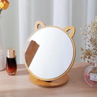 Gương Để Bàn, Gương Trang Điểm Tai Mèo Gỗ Để Bàn SIêu Cute Phong Cách Hàn Quốc SIXTEEN.
