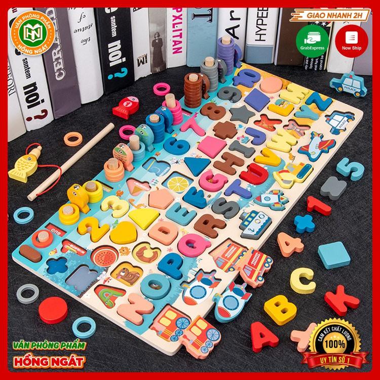 Đồ chơi cho bé bảng chữ cái ghép số câu cá bằng gỗ lắp ráp xếp hình thông minh cho trẻ em
