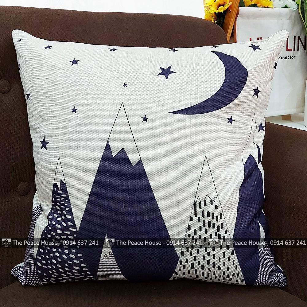 Vỏ gối vuông tựa lưng trang trí sofa 45x45cm hoạ tiết đêm lạnh