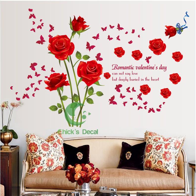 Decal dán tường hình hoa hồ