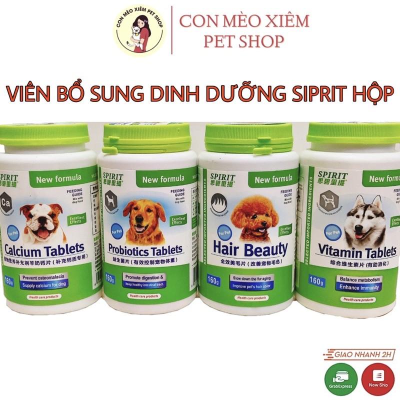 Viêm Spirit cho chó bổ sung dinh dưỡng hộp nguyên- Viên Canxi/ vitamin/ tiêu hoá đẹp lông cún cưng Con Mèo Xiêm - Canxi