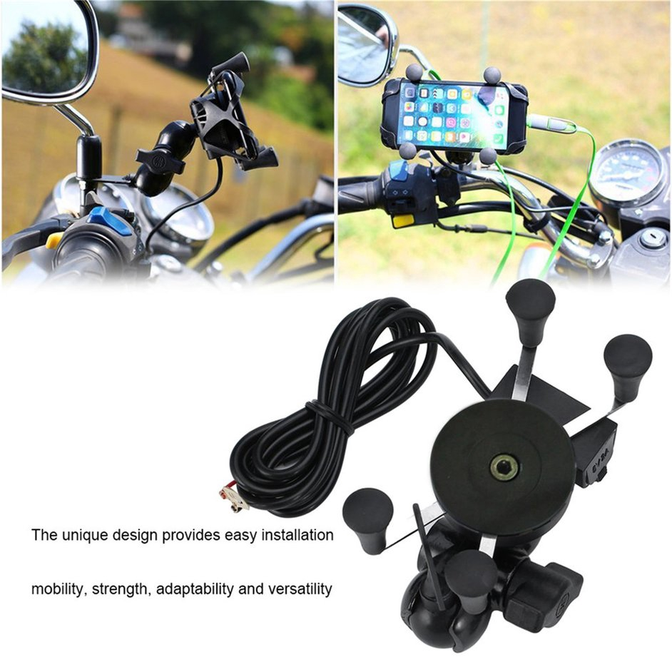 S+X-Shape Grip Motorcycle Phone Holder Universal Navigation Holder With USB Charger