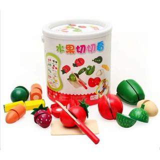 Bồ đồ chơi cắt hoa quả gỗ cho trẻ con New – HD