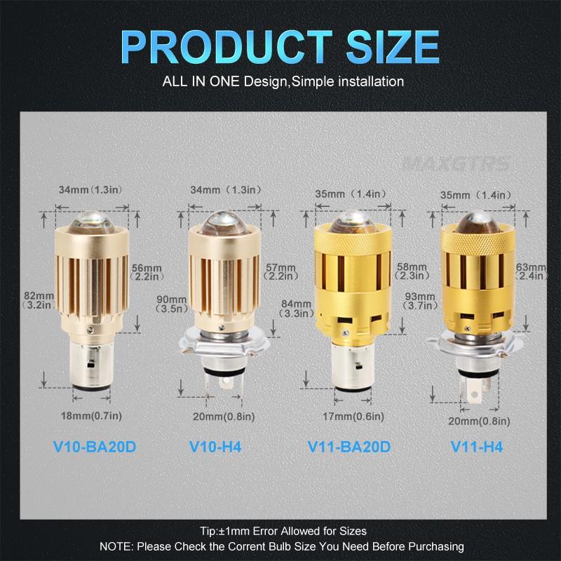 Đèn Pha MAXGTRS Ba20D H6 H4 Hs132w Cho Xe Máy 3000k 6000k