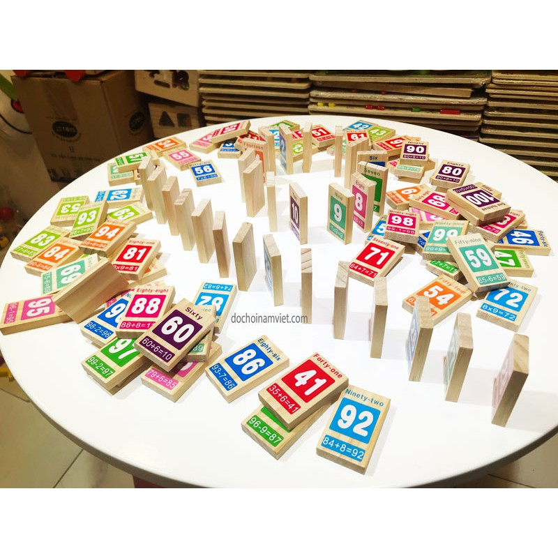 Cờ Domino 100 số Tiếng Anh phép toán cho bé học và chơi xếp hình sáng tạo