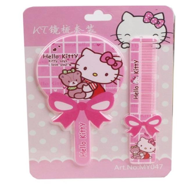 Set gương lược Hello Kitty mini bỏ túi xinh xắn