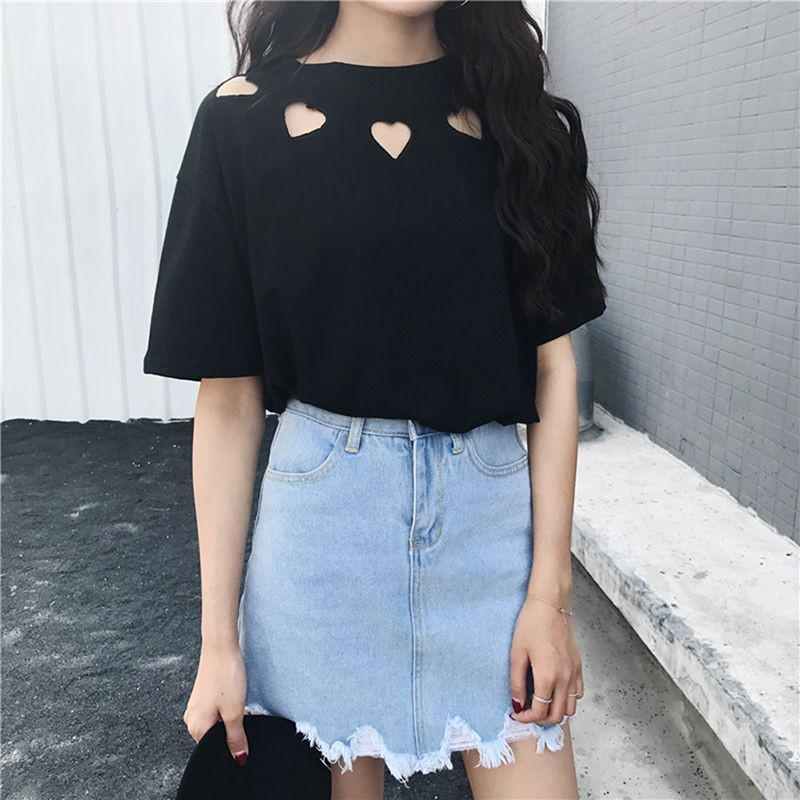 Women Round Collar Solid Color Casual Short Sleeve Casual T shirts Tops
