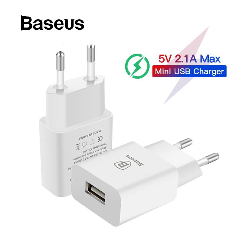 Củ Sạc Baseus 5V 2.1A Cổng USB Phù Hợp Mang Đi Du Lịch Cho Samsung Xiaomi iPhone