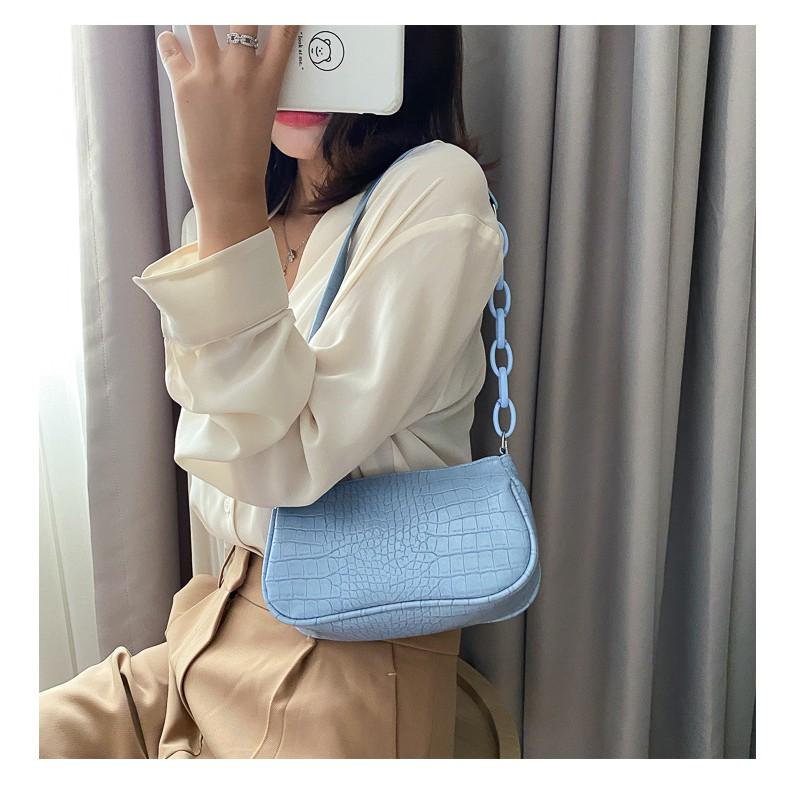 Túi đeo vai dây xích màu trà sữa kiểu dáng Vintage phong cách Retro - đủ 7 màu sắc lựa chọn
