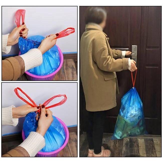 Combo 15 túi đựng rác sinh học tự hủy dây rút tiện ích (1 cuộn)