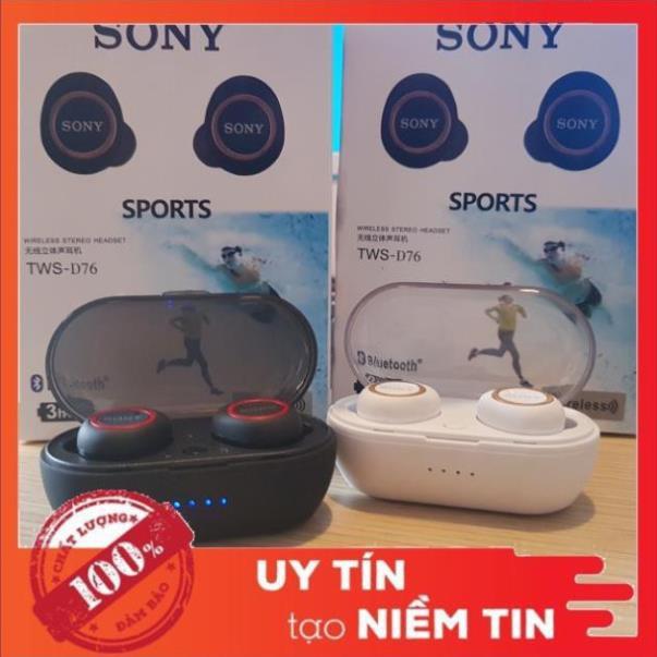 Tai nghe bluetooth nhét tai Sony D76 [FREESHIP] chống ồn Kèm Dock Sạc - Âm thanh cực hay TWS 5.0