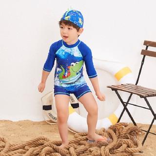 Bộ đồ bơi liền thân dài tay hoạ tiết khủng long kèm nón bơi – Đồ bơi liền thân bé trai BT69