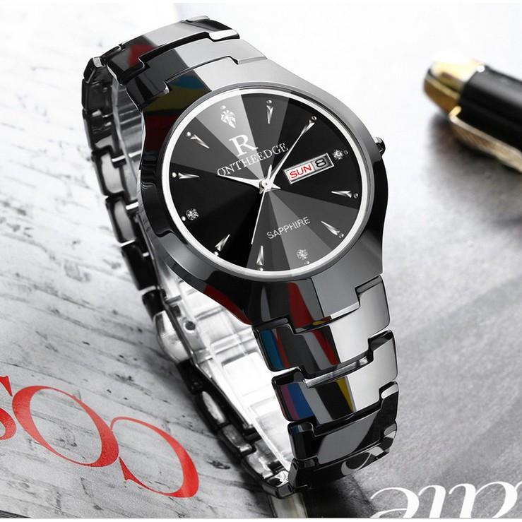 Đồng hồ nam Ontheedge dây đá siêu mỏng kính Sapphire (fullbox, black)