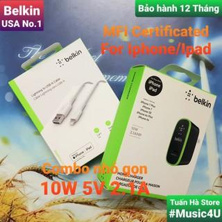 Củ sạc nhanh Belkin 10W 5V 2.1A cho Iphone, Ipad, Ipod, Airpods, chuẩn MFI [Music4U] thumbnail