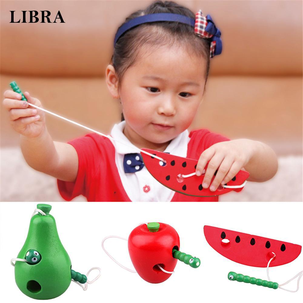 Portable Color Wooden Lacing Game Threading Fruit Toy Kid Early Reliable