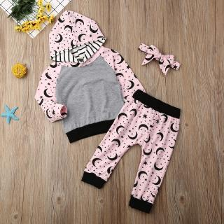 ❥A-❥-2019 Infant Baby Girl Clothes Patchwork Cotton Hooded Top Pants Legging 3Pcs Autumn Cotton Outfits Baby Clothing