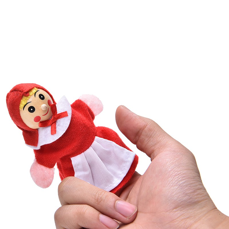 adore 4 Pcs/set Little Red Riding Finger Puppets Wooden Headed Baby Educational craving