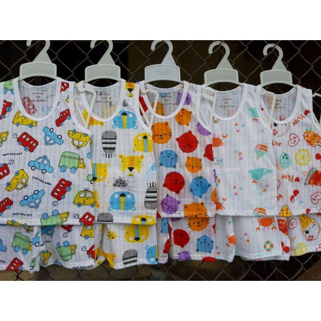 Bộ cotton giấy trẻ em cho bé trai bé gái bộ ba lỗ