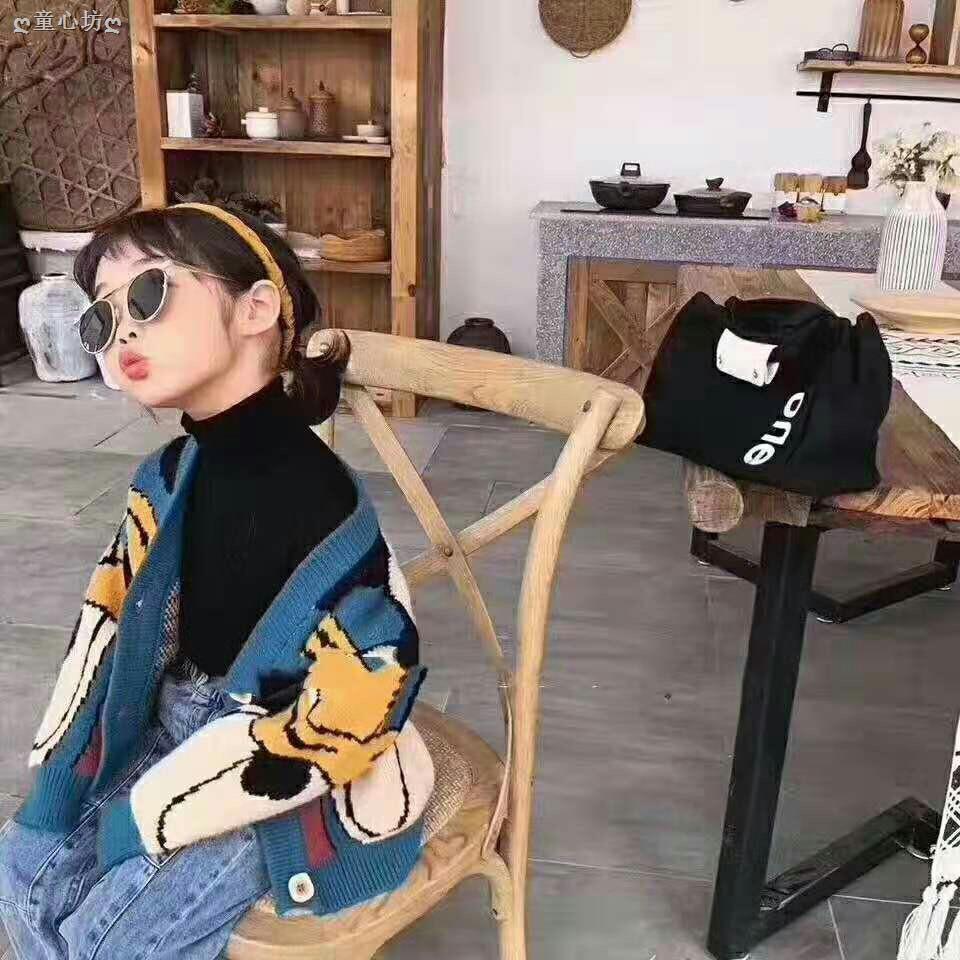 Áo Khoác Cardigan Vải Len Kiểu Hàn Quốc Thời Trang Mùa Thu 2019 Cho Bé Gái