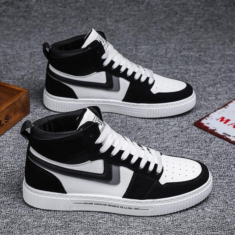 Giày cổ cao nam - EGM đen phối trắng phong cách