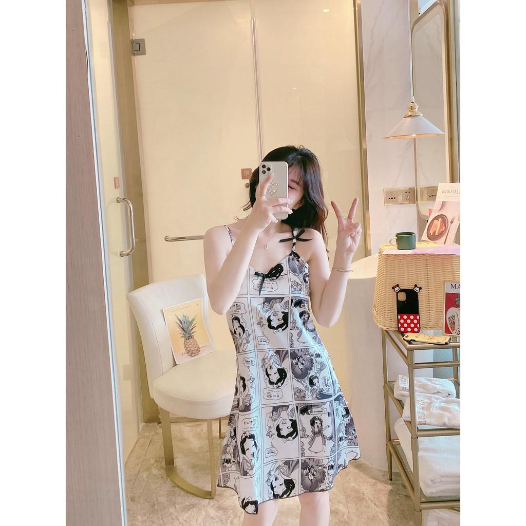 Đầm Ngủ/ Váy Ngủ 2 Dây Phiên Bản Hàn Quốc Dễ Thương Dành Cho Nữ Mùa Hè