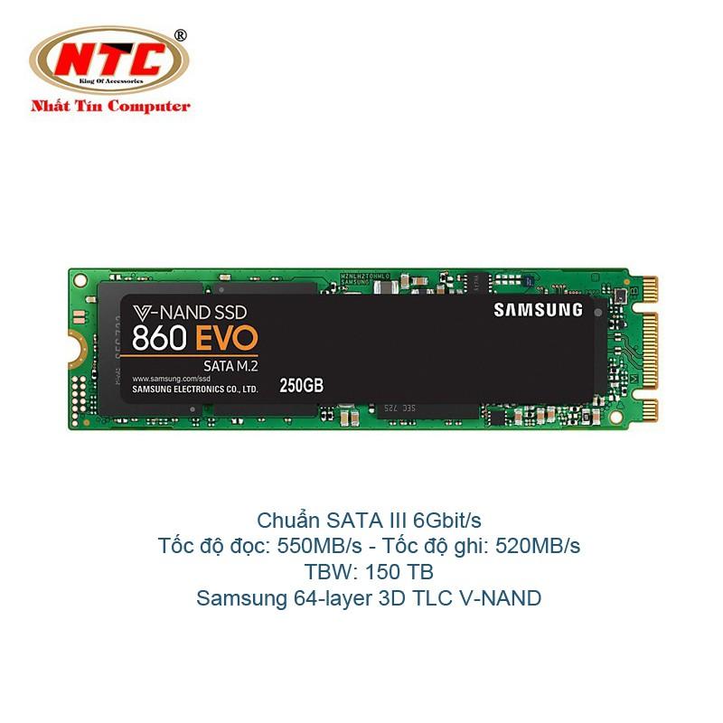 Ổ Cứng SSD M2 2280 Samsung 860 EVO 250gb - chuẩn SATA III 6Gbit/s (Đen)