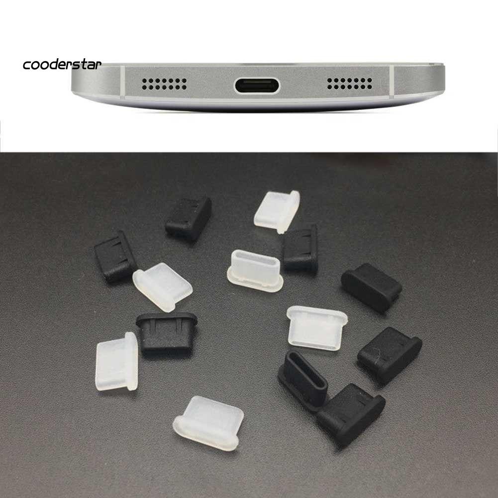 Bộ 5 nút gắn cổng sạc Type-C chống bụi bằng silicone mềm cho điện thoại/máy tính bảng