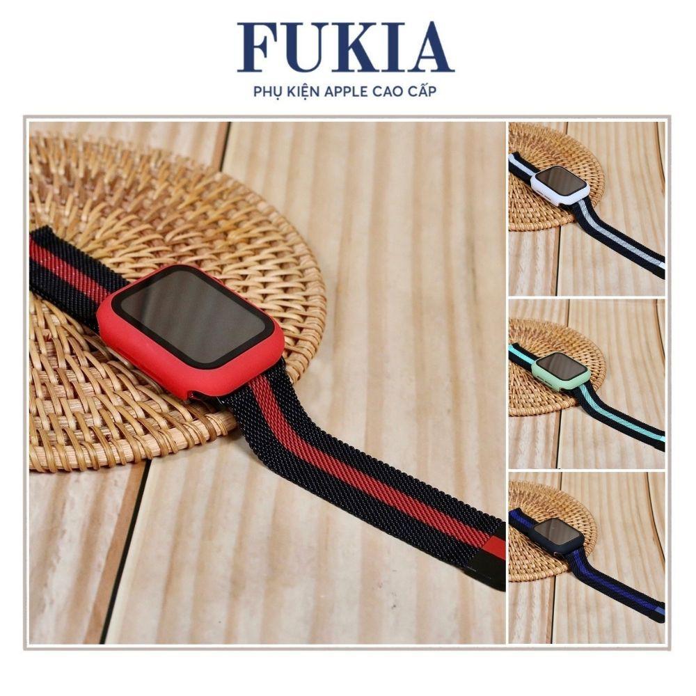 Combo dây thép sọc và ốp kính cường lực apple watch đồng hồ thông minh series 1/2/3/4/5/6 size 38/40/42/44mm fukia