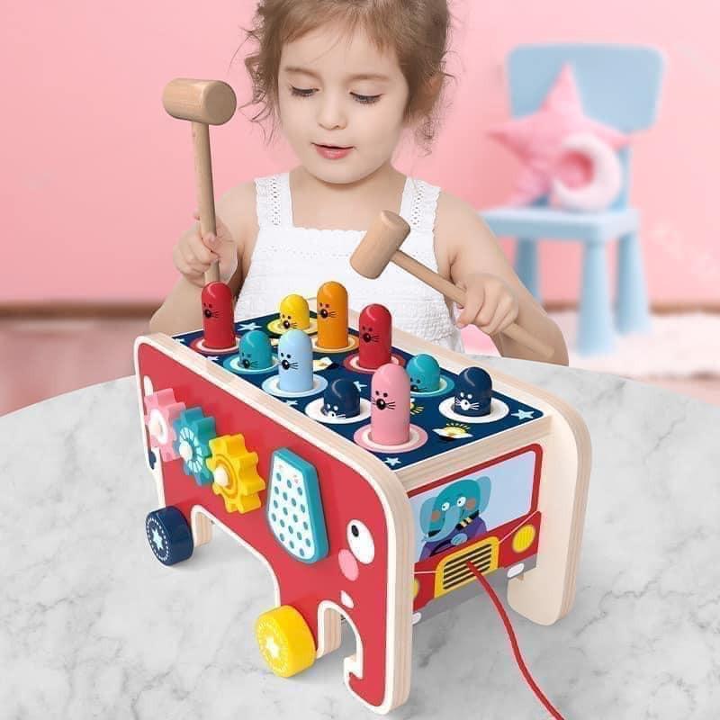 [Loại 1 – Nhập Khẩu] Bộ đồ chơi Đập chuột gỗ cho bé, Đồ chơi Hamster Rèn luyện trí thông minh, nhanh mắt cho bé