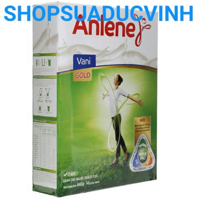 (GHNCANUOC giảm 20k) Sữa bột Anlene Gold Movepro Vani 440g date 03,04/2019 (Hộp giấy) trên 51 tuổi