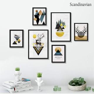 Bộ 06 tranh treo tường Bắc Âu Scandinavan trang trí phòng khách, phòng ngủ
