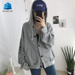 witkey Women Korea Hooded Cardigan Plus Velvet Padded Casual Jacket