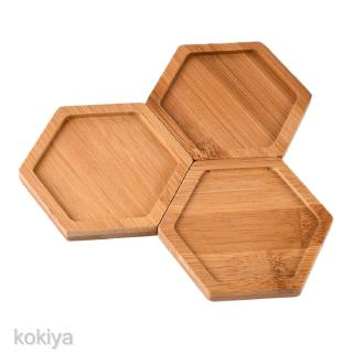 3pcs Bamboo Plates for Succulents Pots Trays Base Stander Home Decor Hexagon