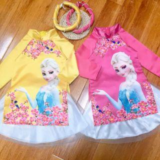Áo dài gấm 3D hình elsa cao cấp cho bé + mấn ngọc + váy voan 2 lớp cho bé từ 8-35kg